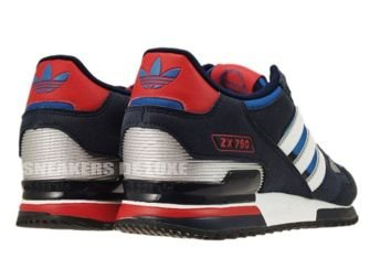 Adidas Originals ZX 750 Pool Blue White Silver Red G61242 .